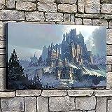 wZUN Tipo de impresión de Lienzo Moderno Bosque de Invierno Nieve montaña Castillo Pintura para Dormitorio o Sala de Estar decoración de Pared Obra de Arte 50x70 cm