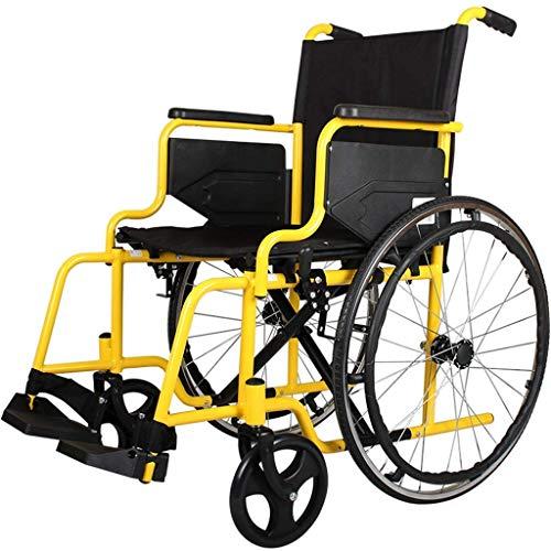 ZHAS Aluminiumlegierung faltbaren Rollstuhl, Leicht Handicapped Trolley, beweglicher Rollstuhl Pedal Adjustable, ältere Menschen Behinderte Scooter, Stahl Leichtklapp Rollstuhl, Schwarz