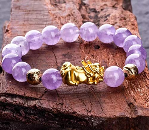 LOTONTJ Feng Shui Pixiu Wealth Bracelet Lavender Jade Crystal Beads Attract Money Good Political Luck Fortune Talisman Peace Prospertity,12mm