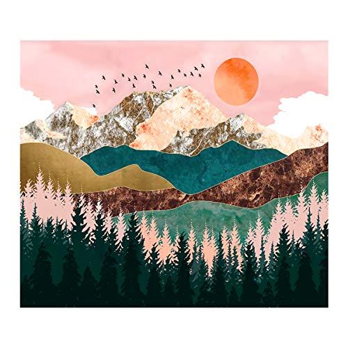 Mengxin Tapisserie Murale Montagne Arbre Forêt Tapisserie Paysage Wall Tapestry Sunset Décoration Intérieur pour Chambre Salon (M / 130cmx150cm)