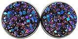 Hematite-tone Purple Pink and Teal Faux Druzy Stone Stud Earrings 12mm