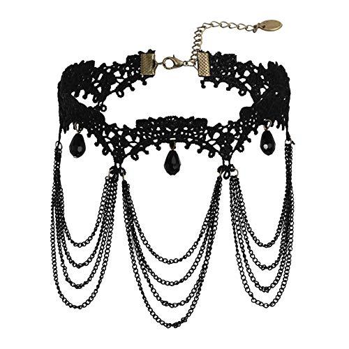 Adokiss Gargantilla de encaje ovalado negro con circonitas, cadena de color negro, longitud 31,5 + 8,5 cm, collar para adolescentes y mujeres