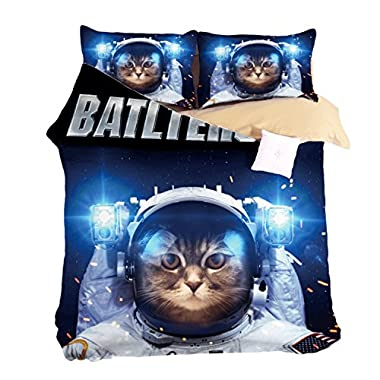 KTLRR 3D Space Cat Bad Dog Bedding Sets Pirate Duvet Cover Set 3/4pcs Cartoon Monkey Bedspread Twin Queen King Size Adults Kids Boys (Twin, cat1)