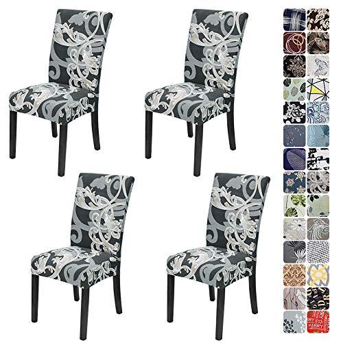 JOTOM Stuhlhussen Universal Stretch Stuhlbezug Elastische Moderne Stuhl Hussen Set Abnehmbare Dekoration Stuhlabdeckung für Esszimmer Party Hotel Restaurant Deko (Grau Muster, 4er Set)