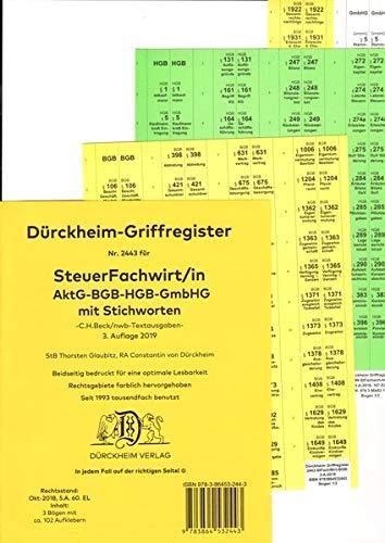 DürckheimRegister STEUERFACHWIRT/IN - Wirtschaftsgesetze (BGB-HGB-GmbHG) mit Stichworten (2020): 102 Registeretiketten (sog. Griffregister) für ... • In jedem Fall auf der richtigen Seite