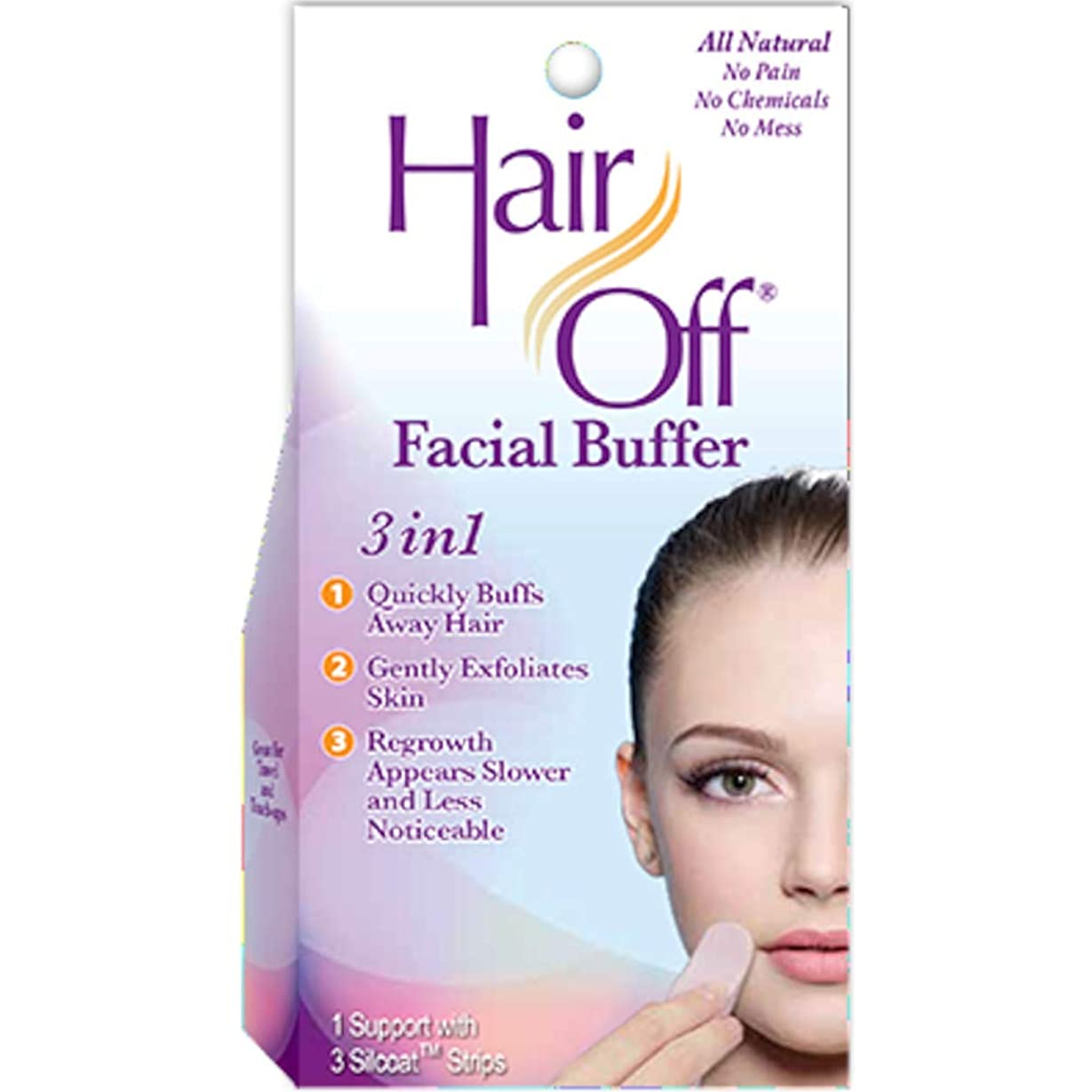 処方見込み可決Hair Off Hairoffフェイシャルバッファ3は、それぞれ(6パック)