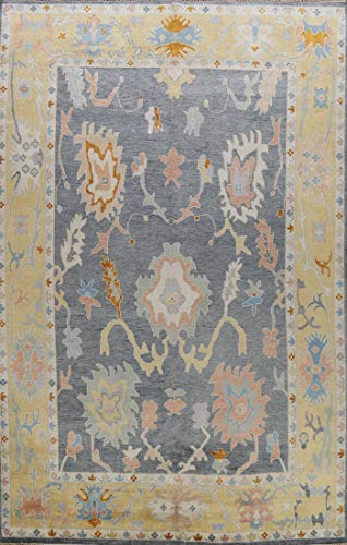 Grey Floral Oriental Oushak Area Rug Wool Hand-Knotted Carpet 9x12 (9