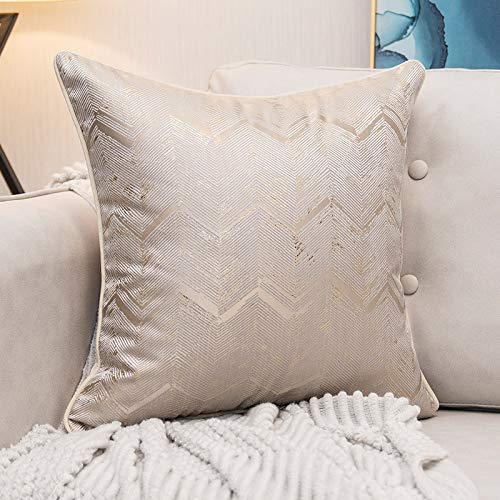QXbecky Golden Silk SmallVPattern Luxury Satin Square Cushion Cover Waist PillowcaseLiving Room Sofa Interior DecorationPillowcase45cm 50cm