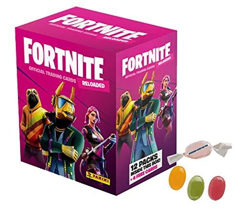 Serie 2 Fortneite 2 Trading Cards Reloaded (2020) - 1 x Mega Box - je 12 Booster + 4 Bonus Cards zusätzlich erhalten Sie 1 x Fruchtmix Sticker-und-co Bonbon