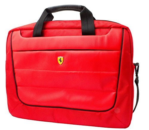 Ferrari Laptop Computer Messenger Bag Red with Black Piping and Embossed Yellow Logo