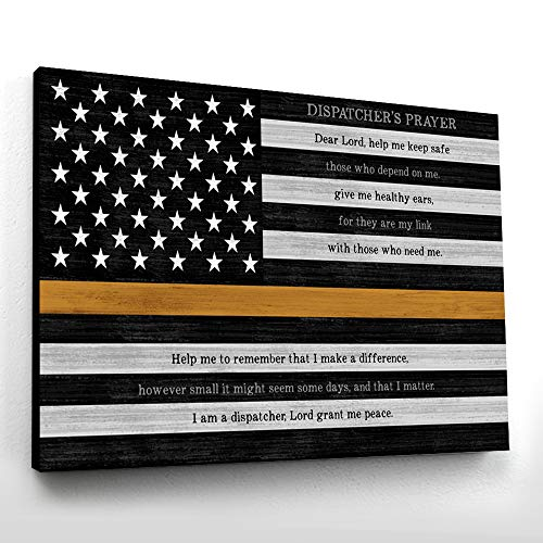 Pretty Perfect Studio Thin Gold Line, 911 Dispatcher Wall Art Sign | 16x20 Ready-to-Hang Canvas, EMS Medical Dispatch Home Decor Print