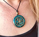 Orgonite necklace by Seed of Life - Healing crystals with sacred geometry for EMF protection - Orgone pendant with turquoise, moonstone and pink quartz, meditation, yoga, handmade