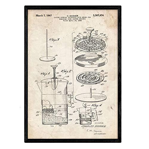 Nacnic Poster con Patente de Cafetera 3. Lámina con diseño de Patente Antigua en tamaño A3 y con Fondo Vintage