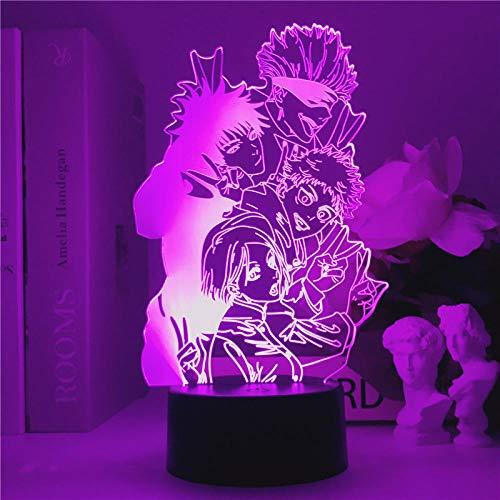 Japón Anime Jujutsu Kaisen Team Lámpara de noche Lámpara de escritorio con atenuación LED 3D Creative Gojo Satoru Itadori Yuji Figura Cable USB Luz de noche Baby Kid Room Decor Lava Holiday Gift-A