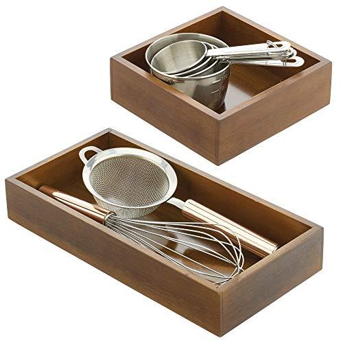 mDesign Juego de 2 cajones de madera – Cajas de bambú multiusos para armarios, cajones y superficies – Cajón de almacenaje abierto de bambú ecológico en 2 tamaños – marrón