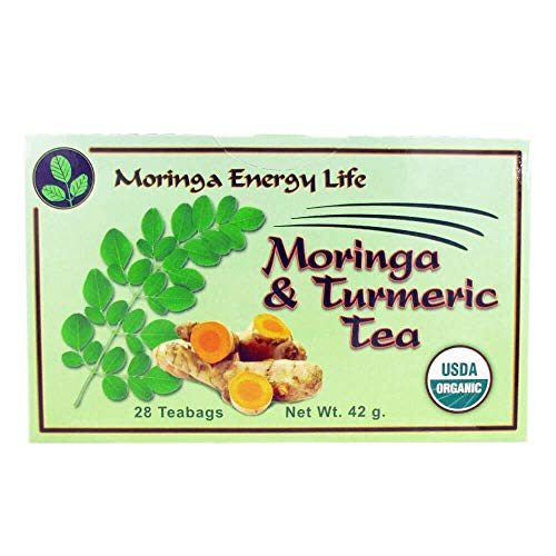 MORINGA TURMERIC TEA - 28 Natural Tea Bags - Nature´s Best Combo for Cognitive Function, Nutrients & Flexibility! with this Moringa Tea for Nutrients in 28 Turmeric tea bags