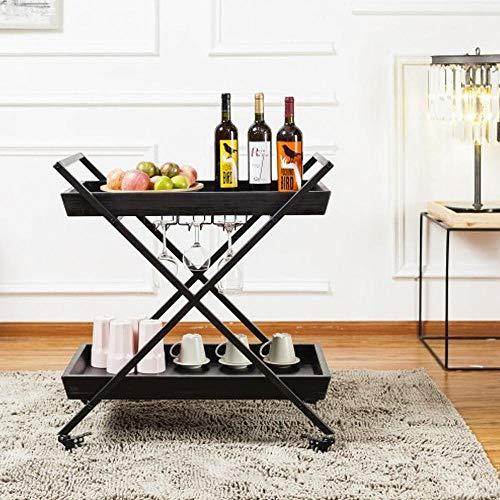 CYGJ 2-Etagen Regale für Badezimmer mit Rollen,Schwarz Eisen Regal für Badezimmer Küche Waschküche Büro