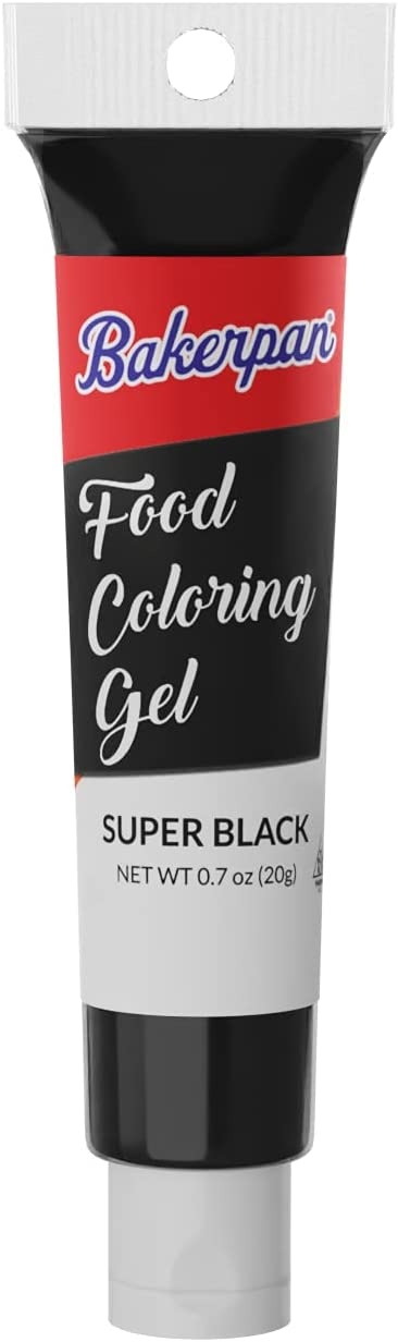 Bakerpan Food Coloring Squeeze Gel .7 oz Tubes, For Icing, Decorating Cakes (Super Black)