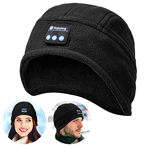 Bluetooth Beanie Hat, V5.0 Wireless Headphone Beanie, Gifts for Mens, Winter Music Hat, Christmas Electronic Gifts for Men/Women(Black)