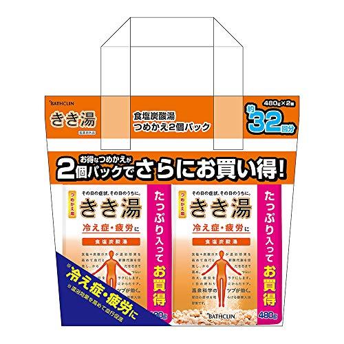きき湯つめかえ2個パック食塩炭酸湯 入浴剤 潮騒の香りの炭酸入浴剤 乳緑色の湯(にごりタイプ) の炭酸入浴剤 詰替え用 480g×2個