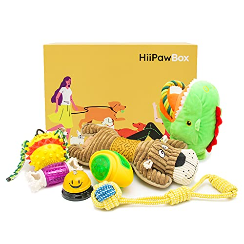 HiiPawBox Dog Chew Toys Box for Aggressive Chewers, Suction Cup Dog Chewing Toy, Dog Rope Ball Toys with Suction Cup for Small Large Dogs, Puppy Dog Teeth Cleaning Interactive Pet Tug Toy for Boredom