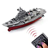 Tipmant Military Remote Control Aircraft Carrier Model RC Boat Ship Speedboat Yacht Electric Water Toy - Silver (2.4G No Antenna)