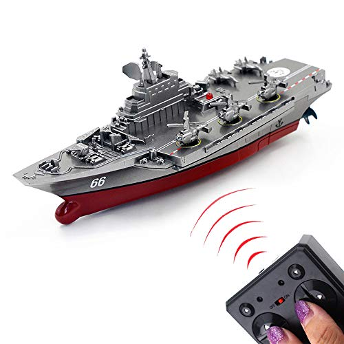 Tipmant Military Remote Control Aircraft Carrier Model RC Boat Ship Speedboat Yacht Electric Water Toy - Silver (2.4G No Antenna) (Silver)