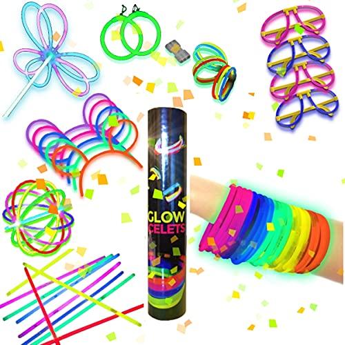 100 Pulseras Luminosas Fiesta Bodas Glow con Conectores para Gafas, Pulseras triples, Orejas Conejo, Pendientes, Flores, Bola Luminosa (200 Pulseras + Conectores)