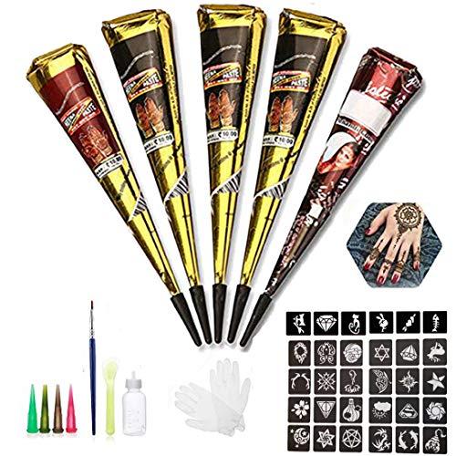 Alotlucky Natürliche Tattoo Sticker, 6 Stück Tattoo Cones mit 30 Schablone, Tattoo Kegel, Körperkunst mit 1 Flasche, 1 X Kleine Bürste/Kunststoffschaber,4 X Kunststoffdüse, Schwarz/Brown/Rot 25g X 5