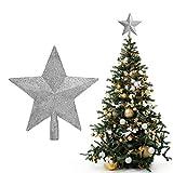 Belle Vous Punta Albero di Natale Argento - Puntale Stella Albero di Natale 20x19 cm - Tree Topper Stelle per Albero di Natale Puntale a 5 Punte - Decorazioni Natalizie Argentate Brillante con Glitter