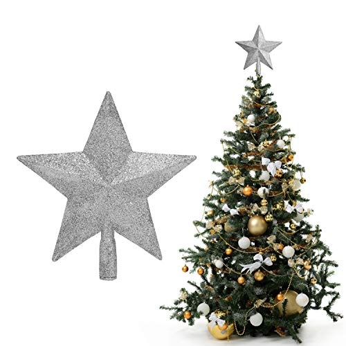BELLE VOUS Weihnachtsbaum Spitze - 20 x 19 cm 5 Punkt Weihnachtsstern Baumspitze Silber Glitzer -Christbaumspitze Stern mit Röhre – Tannenbaumspitze Baumschmuck Weihnachtsdeko Weihnachtsschmuck