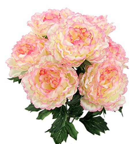 Admired By Nature 7 Stems Faux Full Blooming Peony Flower Bush, Cream/Pink Tip