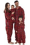Conjunto de pijamas de Navidad de la familia, con capucha de microforro polar, sin pies, de una pieza, para mujeres, hombres, niños, niñas, bebés, perros Rojo Cuadros Rojos - Bebé 9-12 Meses