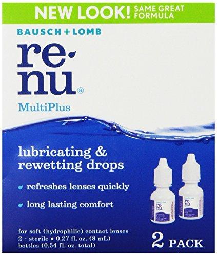 Bausch + Lomb ReNu MultiPlus Lubricating & Rewetting Drops, 0.27 Ounce Bottle Twinpack