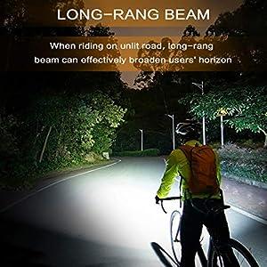 SEWOBYE Luz Bicicleta Led Alta Potencia 2400 Lúmenes, Luces Bicicleta Recargable USB Delantera con Pantalla Led, Luz Bici de Montaña 5 Modes y Luz Bici Trasera