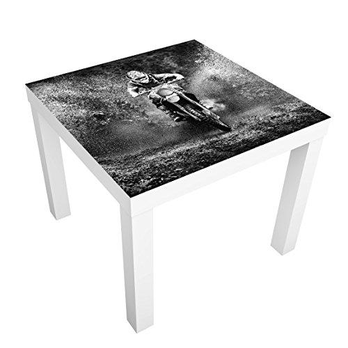 Bilderwelten Beistelltisch - Motocross im Schlamm - Tisch 55x55x45cm Beistelltisch Couchtisch Motiv-Tisch, Tischfarbe: schwarz, Größe: 55 x 55 x 45cm