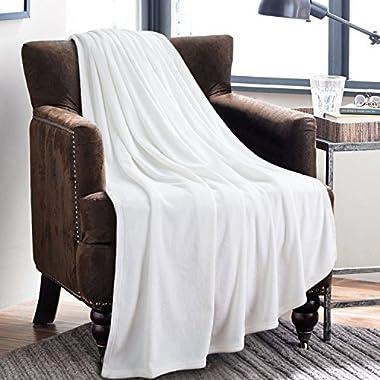 Bedsure Flannel Fleece Luxury Blanket White Twin Size Lightweight Cozy Plush Microfiber Solid Blanket