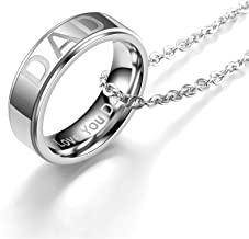 BELOVING Stainless Steel Love you Dad Mom Pendant Necklace Ring for Men Women Mom Birthday,Ideal Mother's Day Gifts