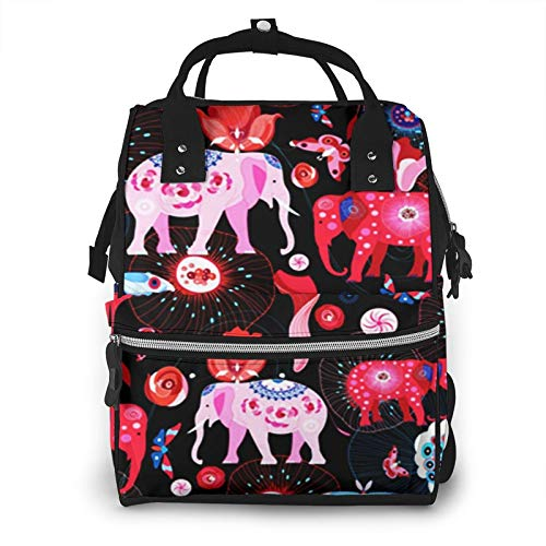 Nappy Changing Bag Backpack, Large Diaper Bags Indian Pink Elephants Multi-Function Waterproof Maternity Nappy Back Pack for Baby Care Mom Dad Travel