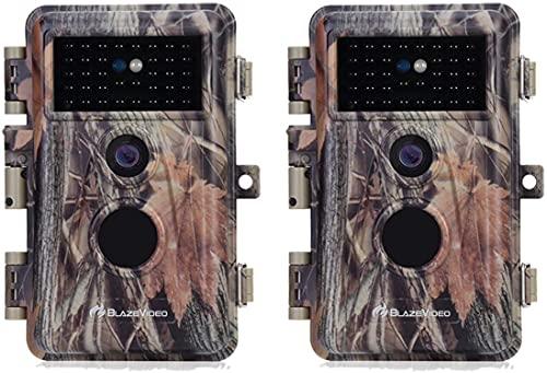 {2021} BlazeVideo Cámara de Vídeo y Caza de 24MP 1296P con Sensor de Movimiento Infrarrojo sin Brillo y Disparador IP66, Resistente al Agua con Visión Nocturna de 75 Pies, Modelo de Foto y Vídeo