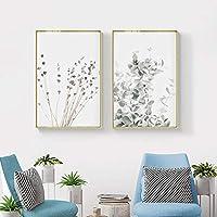 ラベンダーユーカリポスタープリント植物キャンバス壁アートパネル絵画インテリア農家モダンの壁写真寝室北欧家の装飾40×60センチ×2フレームレス