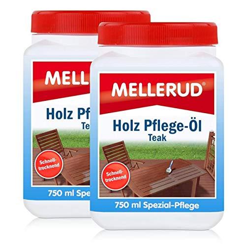 Mellerud Holz Pflege-Öl Farbton Teak 750ml - Spezial-Pflege (2er Pack)