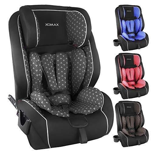XOMAX XL-518 Kindersitz mit ISOFIX I mitwachsend I 9-36 kg, 1-12 Jahre, Gruppe 1/2/3 I 5-Punkt-Gurt und 3-Punkt-Gurt I Bezug abnehmbar und waschbar I ECE R44/04 (Grau Muster)