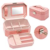 LockableJewelryBox for Women, JewelryOrganizerBox with Mirror and Key, 2 Layers Exquisite Earring Ring Necklace and Bracelet Leather Jewelry Storage Box Gift for Girls (Pink)