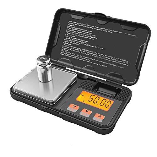 GPISEN Báscula Digitales de Precisión,Balanzas de Portátiles, Báscula de Joyería,con Pantalla LCD,Acompañado por 50g Peso de calibración,Función de Tara, para Cocinar, Café-200g x 0.01g