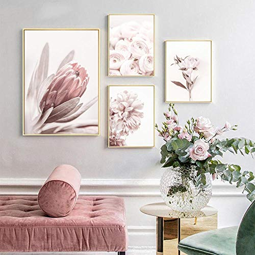 VVSUN Arte Moderno de la Pared Carteles de peonía Impresión de Arte Floral Pintura en Lienzo de Rosa Dormitorio escandinavo Decoración para Sala de Estar 30X40cmx3 50X70cm Sin Marco
