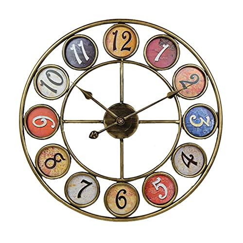 Reloj de pared de cocina extragrande de metal dorado de 60 cm con manecillas doradas, reloj de pared retro, silencioso, sin tictac, ideal para salones, cocinas, lofts, cafeterías, oficinas