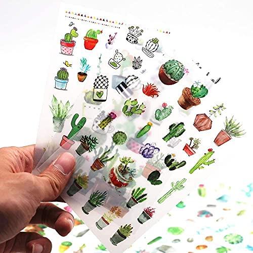 Adesivo 48 Fogli (1200 Pezzi) Adesivi Decorativi per Piante di Cactus Verde Scrapbooking Etichetta Adesiva Diario Cancelleria Album Bullet Journal Planners Stickers