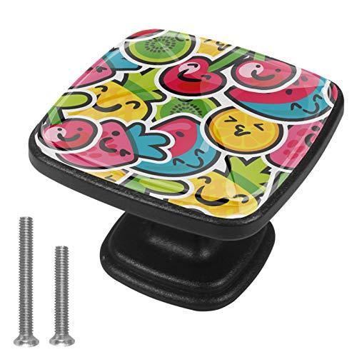 [4 piezas] pomos cuadrados para puerta de armario de color vintage, varios diseños, tiradores de cajón, frutas coloridas cerezas, fresas