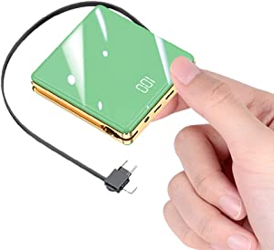 3 in 1 with Built in Cable Portable Charger 15800mAh Cell Phone Battery Backup Ultra Slim Mini Power Bank with LCD Display Compatible with iPhone iPad Android Samsung Galaxy and More (Green)